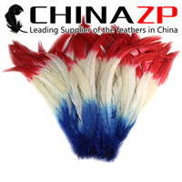 Wholesale Long Rooster Tail Feathers - NO.1 Supplier CHINAZP Crafts Factory 30~35cm(12~14inch) 100pcs lot 3 Tones Hand Select Beautiful Dyed Long Rooster Tail Feathers for sale