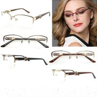 Wholesale Metal Memory Frame - Vintage Brand Italy Design Semi-Rim Metal Eyeglasses Men Flexible Memory Frame High Quality Rx Optical Glass Clean Lens B05123