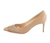 Zandina Womens Ladies 65mm High Heel Pumps Заклепки Шипы Направленный Toe Party Dress Evening Stiletto Shoes Nude