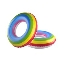 Wholesale New Adult Rainbow Inflatable Swimming Float Tube Ring Raft Pool Float Swim Ring Summer Water Fun Pool Toys