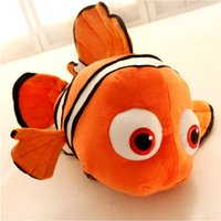 "Wholesale Small Plush Fish - Wholesale- 1pcs 15.8"" 40cm small plush toy Nemo clownfish Nemo plush toy golden fish hot selling super gifts for kids free shipping"
