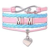 Wholesale Mimi Pc - (10 PCS Lot) Infinity Love Mimi Heart Charm Wrap Bracelets Gift for Mom Grandma Pink Turquoise Custom any Themes