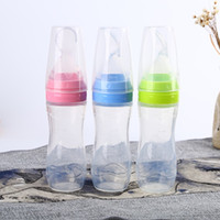 Wholesale feeding babies rice - 120ml Baby silicone Feeding Bottle With Spoon Squeezing Feeding Spoon Silicone Training Scoop Rice Cereal Food Supplement Feeder