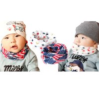 Wholesale Scarf Star Pattern Cotton - Kids cotton neck warmer beanie 2pc sets Animal Stars Letters Anchor America flag Camouflage pattern casual warm hat scarf sets