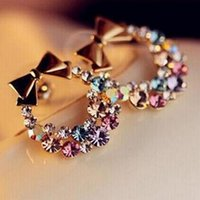 Wholesale Vintage Colorful Earrings - New Fashion pendientes Earrings Imitation Rhinestone Colorful Rhinestone Bow Vintage Stud Earrings Jewelry wholesale EAR-0450