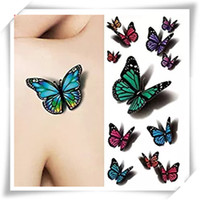 Wholesale Sexy Temporary Tattoo Sheet - 3D Sexy Multicolor Butterfly Tattoo Decals Body Art Decal Flying Butterfly Waterproof Paper Temporary Tattoo Sticker 1 Sheets