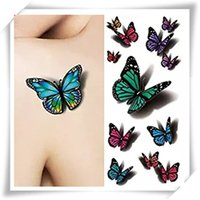 Compra Decalcomanie Per L'arte Del Corpo-3D Sexy multicolore Butterfly Tattoo Stickers Body Art Sticker Volo della farfalla impermeabile carta temporanea tatuaggio Sticker 1 Fogli