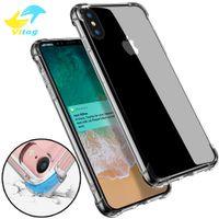 ingrosso phone case-Custodia morbida trasparente anti-bussare in TPU trasparente per telefono Custodia morbida antiurto per iPhone 6 7 8 plus X XR XS Max s8 s9 S10 nota8