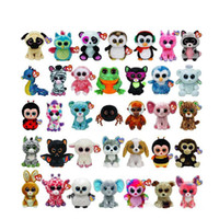 Wholesale designed beanies - 35 Design Ty Beanie Boos Plush Stuffed Toys 15cm Wholesale Big Eyes Animals Soft Dolls for Kids Birthday Gifts ty toys OTH754