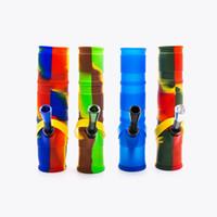 ingrosso blocchi di vetro rossi-Moda Colorful Silicone Mini Bong Waterpipe Pieghevole 20CM Tubo ad alta acqua Mini Narghilè Pipa ad olio di narghilè in gomma