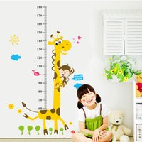 Wholesale Giraffe Measure Cartoon - Wall Sticker Removable PVC Large Cartoon Giraffe Measure Height Wallpaper Growth Chart Decal For Kid Room Decoration 2 86pf F R