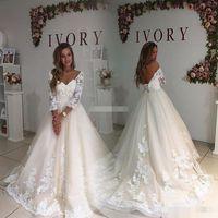 Wholesale Long Maxi Princess Skirt - Modest Plus Size Wedding Dresses With Illusion Sleeve 2017 Vintage Open Back Maxi Big Sizes Weddings Gowns Lace Women Bridal Dress Appliqued