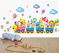 Wholesale Wall Decor Stickers Kids Train - Wholesale- Free shipping DIY Removable Wall Stickers Cartoon Cute Animals Train Balloon Kids Bedroom Home Decor Mural Decal Small Size