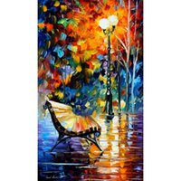 Wholesale Lonely Paintings - palette knife oil painting Leonid Afremov lonely bench hand-painted modern art Landscape wall decor
