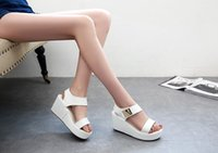 Wholesale Factory Direct Loop - 2017 Fashion Pure Color College Wind Thick Bottom Muffin Simple Sandals Ladies High Heeled party Sandals Factory Direct