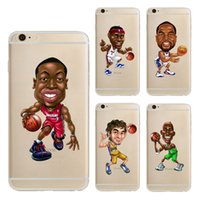 Wholesale Iphone 5c Cartoon - Cartoon American Basketball Player Clear Soft Silicone TPU Cell Phone Case for iphone X 8 7 6S Plus 5S 5C 4S Back Cover