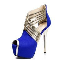Hot Fashion Nighclub Femmes Chaussures Super High Heeled Sexy Crossed Straps Waterproof Platform Chaussures Peep Toe