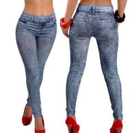jeggings para mulheres venda por atacado-Moda Magro Calças De Brim Legging Tatuagem desenho colorido Calças Skinny Sexy Mulheres Algodão Plus Size Stretchy Jeggings Colorido vestuário transporte da gota