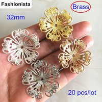Wholesale Brass Filigree Beads - 20 pcs Big Metal Flower Base Settings,32mm Filigree Brass Flower Base Mounting,Brass Bead Cap,Gold-color,Silver-color,Raw Brass,Steel Color