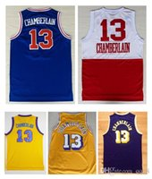 Wholesale 13 Wilt Chamberlain Throwback Jerseys Rev New Material Retro Shirt Yellow Purple White Blue embroidery logo