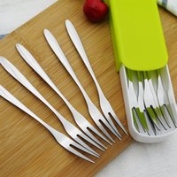 Wholesale Spoon Fork Knife Boxes - 1Set Stainless Steel Dessert Cake Fruit Forks Knife Peeler With Storage Box Dinerware Set Salad Tool Kitchen Accessories