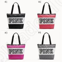 Wholesale Nylon Shoulder Shopping Bag - Pink Letter Handbags Women Waterproof Shopping Bags Messenger Bags Shoulder bag Large Capacity Striped Travel Duffle Beach Bag OOA1056
