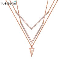 Wholesale Triangle Shaped Necklace - LUOTEEMI Elegant Double V Shape Necklace Micro Paved Cubic Zircon Triangle Pendants 3pcs Link Chain Jewelry For Women Gifts