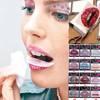Wholesale Party Eye Tatoo Stickers - Wholesale- 10Pcs Temporary Lip Tattoo Stickers Lipstick Art Transfers Art Party Fancy Dress 01 Tatoo DTZE #60680