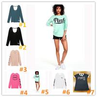 Wholesale Summer Tracksuit Women - New Women Hoodies Printed Hoodie love pink Sweatshirts Spring summer T-shirt sweatshirts vest camis Fashion pullover Female Tracksuit