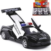 Wholesale Cool Toy Police Cars - New arrival 1:32 kids toys police car Cool metal toy cars model for children music pull back cars miniatures gifts for boys