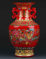 vaso de pintura de flores venda por atacado-Chinese Famille Rose Porcelana Pintado à Mão Phoenix Flores Vaso W Qianlong Mark