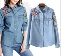 Discount embroidered blouses cotton - Spring Vogue Women Clothing Floral Embroidered Denim Blouse Loose Lapel Slim Cotton Denim Shirt Long Sleeve Female Blouses