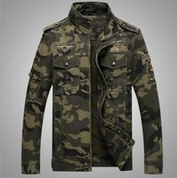 Wholesale Military Style Long Top - Military Style Jackets for Men Slim Fit Jackets Spring Coats Autumn Overcoat Camouflage Tops Good Quality Plus Size Army Green