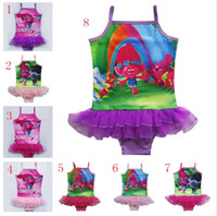 Wholesale Child Swimsuits - Baby Girls Swimwear Summer Kids One Piece Swimsuit Trolls Children Bathing Suit Kids Girls Bikini Swim Suit Bathers L001