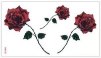 Wholesale Temporary Tattoos Wholesale Roses - Wholesale-(Min order $0.5) Temporary Tattoo For man Woman Waterproof Stickers makeup maquiagem make up three large rose tattoo WM201