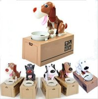 Wholesale Mechanical Adorable Coin Bank Saving Box Cartoon Puppy Hungry Robotic Dog Money Box Money Bank Gift for Kids