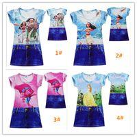 Wholesale Sheath Dress Kids - Newly 4Designs Trolls Girls Dress Moana Polyester One-Piece Dress Beauty And Beast Belle Short Sleeve Summer Nightgown Kids Clothing Q1011