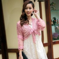 Wholesale white elegant cardigans - Korean Elegant Cardigan Summer Sunscreen Long Sleeve Lace Tops Blouse Embroidery V-Neck Women Solid Short Shirt