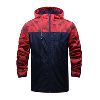 Wholesale fall turtleneck - Wholesale- Spring And Fall Men's Windbreaker casual jacket zipper cardigan men Stitching hooded jacket men sportswear coat Free Shipping