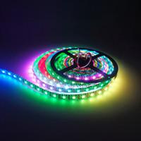 Wholesale Leds Reel - Hot Sale 100M 5M Reel Black or White PCB 30LED M WS2812b 60 LEDs M 5050 RGB 5V Led Strip Light Dream Color