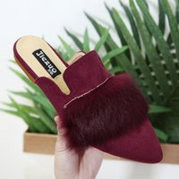 Wholesale Sandal Red Wine - summer shoes woman pointed toe slippers rabbit fur mules flock slides sandals scuffs wine red black
