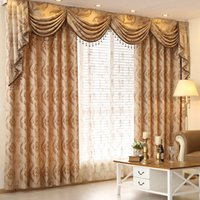 Wholesale Drapes For Windows - Faux Chenille Blackout Curtains Jacquard Weave Drapes For Living Room Luxury Curtains 42W 50W 72W 1 Panel Curtain Cloth And 1 Panel Gauze