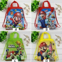Hot Super Mario Printed Kids Drawstring Backpack Praia Shopping School Traveling Bags 34 * 27CM