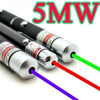 Wholesale Pen Presenter - Powerful Green Red Blue Laser Pointer Pen Beam Light 5mW Professional Military High Power Presenter lazer