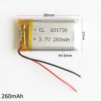 batería mini grabadora al por mayor-3.7V 260mAh Li-polímero de LiPo Batería Recargable 601730 con PCM borad power Para mini altavoz Mp3 bluetooth GPS Grabador de DVD de auriculares