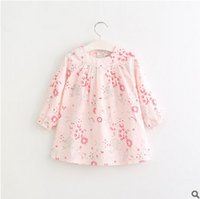 Wholesale Wholesale Doll Clothing American Girl - Girls dress shirt 2017 spring children flowers doll princess tops kids long sleeve round collar printed dress shirt children clothes T1353