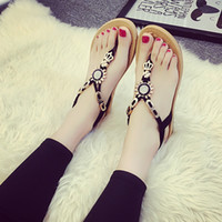 Wholesale Beaded Flip Flop Slippers - New Fashion Flat Heel Sandals Summer Flip Flop Sun Flower Beaded Female Clip Toe Soft Bottom Student Beach Slipper Shoes