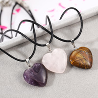 Wholesale Cord Necklaces For Women - Wholesale-Leather Cord Natural Tiger Eye Purple Quartz Stone Heart-shaped Pendant Necklace Fashion Clavicle Chain Necklaces For Women N77