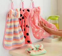 Wholesale Lint Free Fabric Wholesale - Super soft coral velvet towel kitchen Hanging towel absorbent lint-free cloth towel kitchen towel.