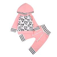 patrón de camisa infantil al por mayor-Bebé recién nacido ropa patrón de corazón con capucha Tops camiseta + pantalones 2pcs traje de niñas de algodón niño pequeño niños trajes conjuntos de ropa para niñas